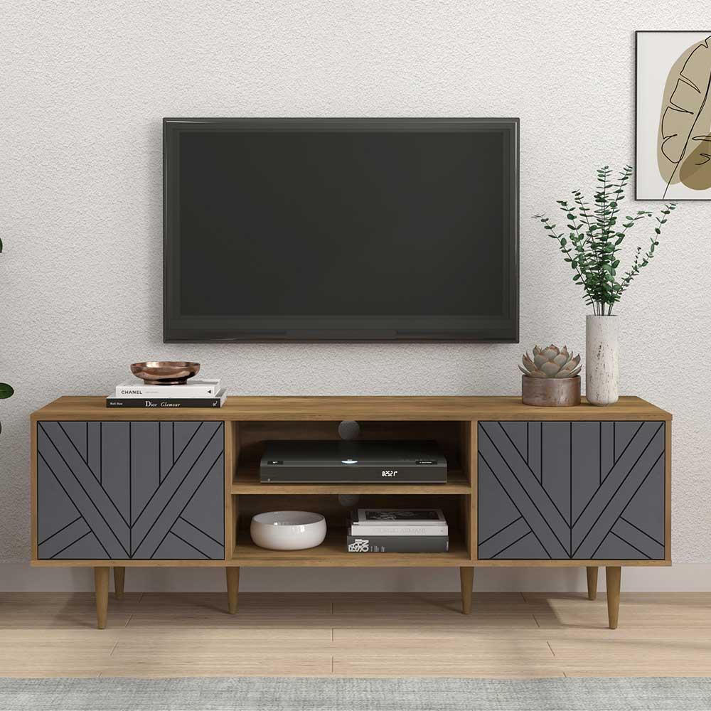 Skandi TV Lowboard in Grau und Naturfarben 2 türig