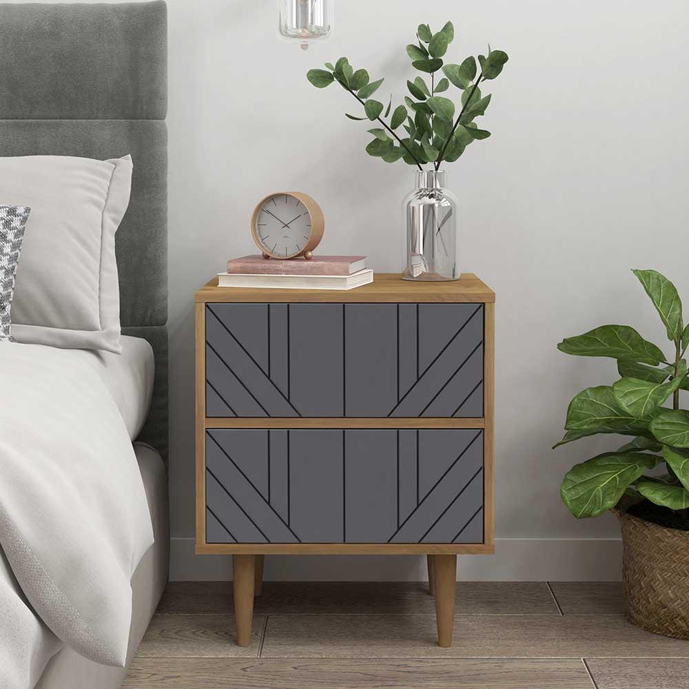 Nachtkommode in Grau und Naturfarben zwei Schubladen