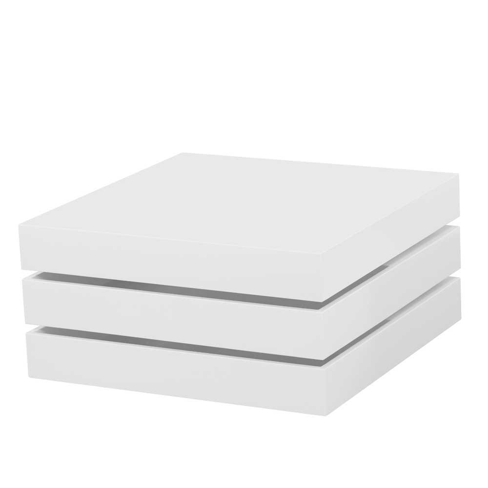 Hochglanz Couchtisch mit schwenkbarer Tischplatte Weiß
