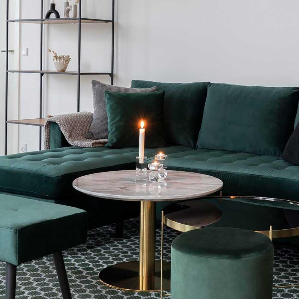 Runder Couchtisch in Messingfarben und Hellgrau marmoriert 45 cm hoch
