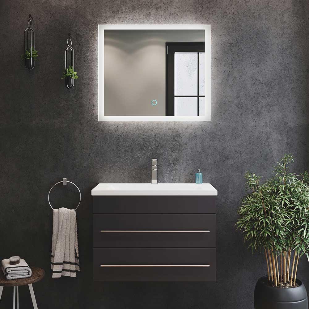 Badmöbel Set mit Spiegel 2 Schubladen (zweiteilig)
