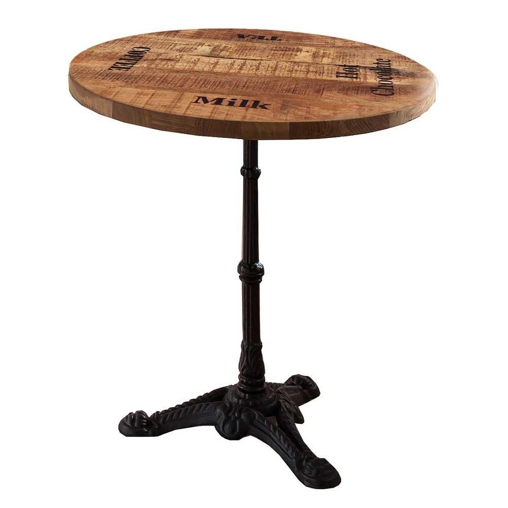 Bistro Esstisch aus Mangobaum Massivholz bedruckt Gusseisen