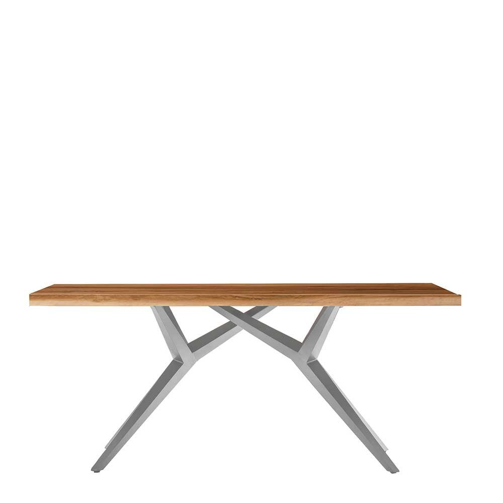 Esstisch in Teak und Altsilberfarben Massivholz und Metall
