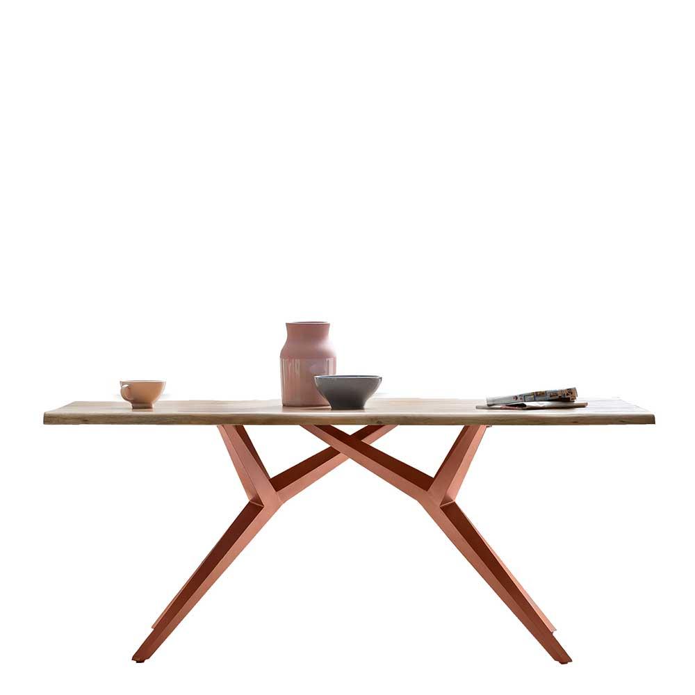 Rustikaler Esstisch mit Massivholzplatte Wildeiche Metall Vierfußgestell