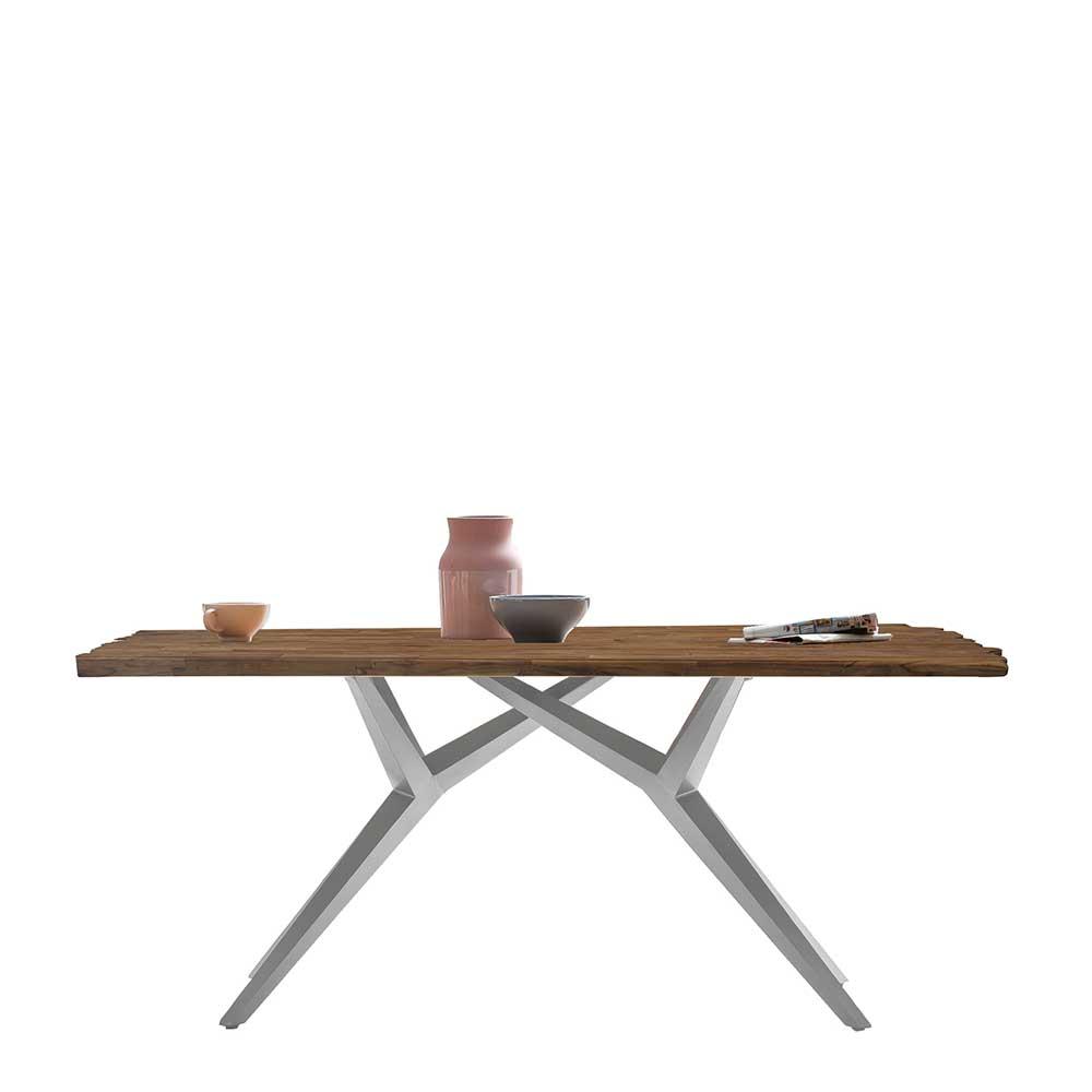 Design Esstisch in Teak und Altsilberfarben Massivholzplatte