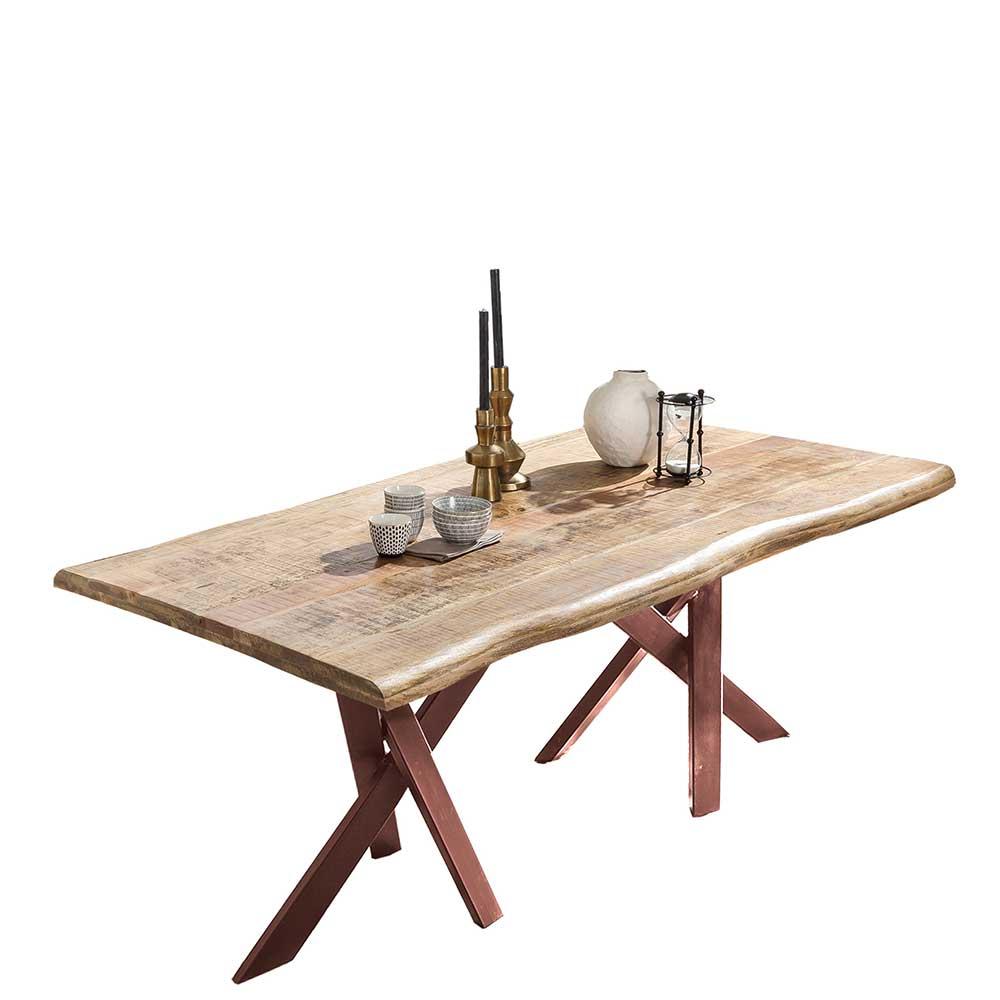 Baumkante Esstisch mit Metall Sechsfußgestell Braun