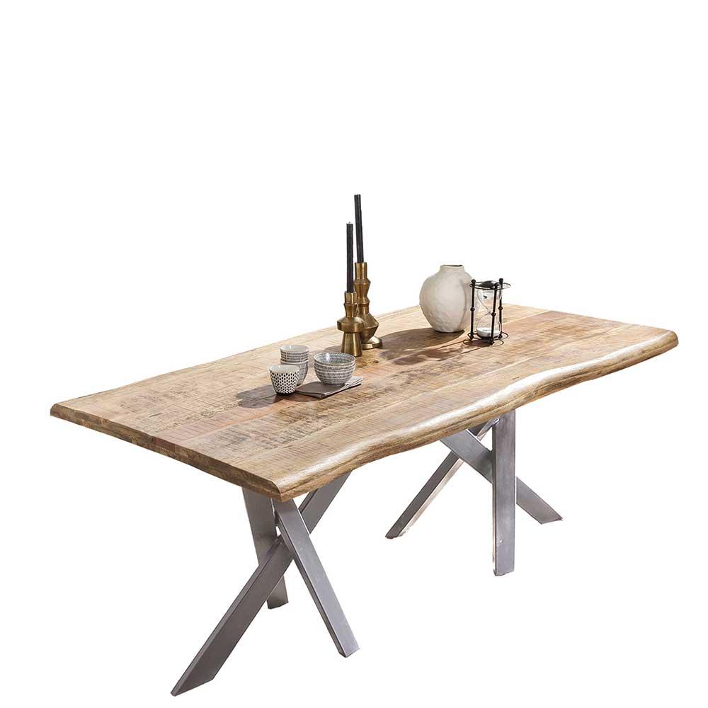 Esstisch Mangoholz im Industry und Loft Stil Baumkante