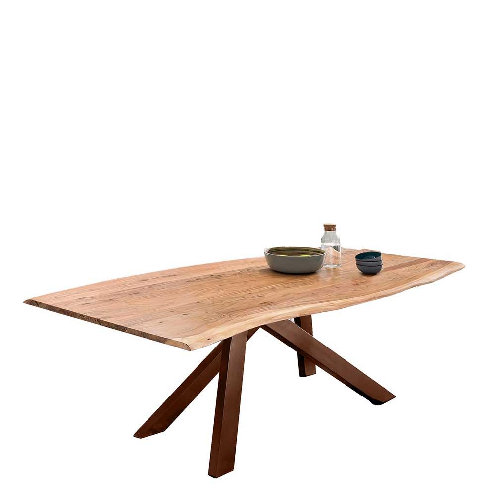 Esstisch mit Baumkante aus Akazie Massivholz Metall Vierfußgestell