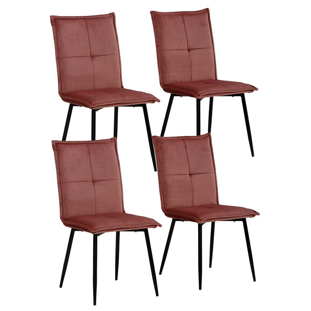 Samt Esstisch Stühle in Altrosa und Schwarz Gestell aus Metall (4er Set)