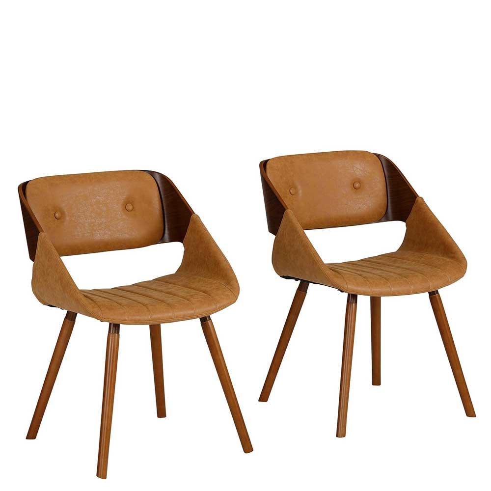 Retro Esstisch Stühle in Nussbaumfarben und Braun aufwendigen Steppungen (2er Set)
