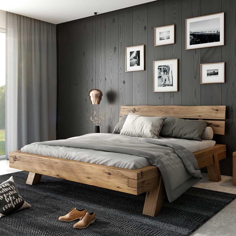 Balken Doppelbett aus Asteiche Massivholz 38 cm Einstiegshöhe