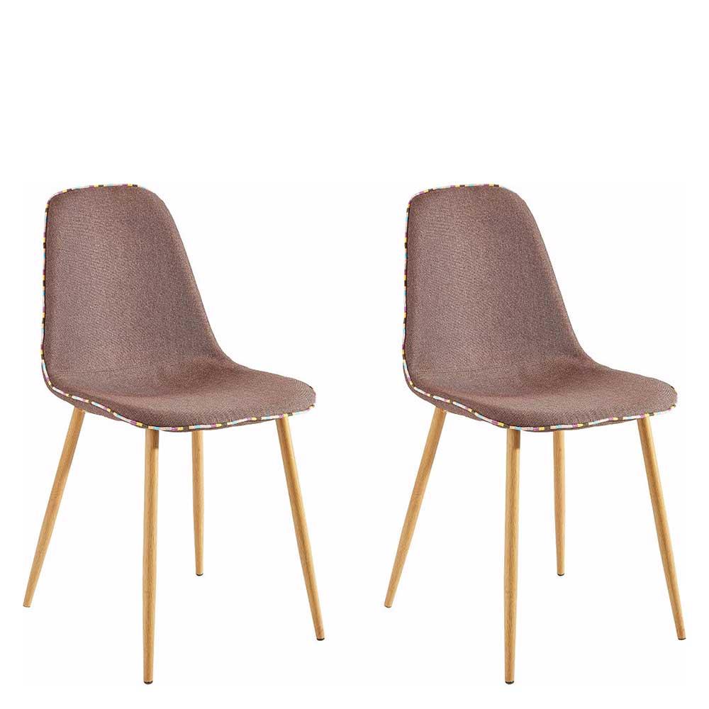 Esstisch Stühle in Braun und Eichefarben Gestell aus Metall (2er Set)