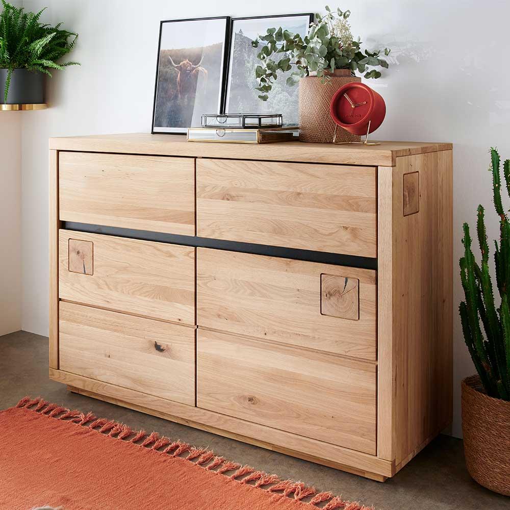 Sideboard aus Wildeiche Massivholz zwei Schubladen und Türen