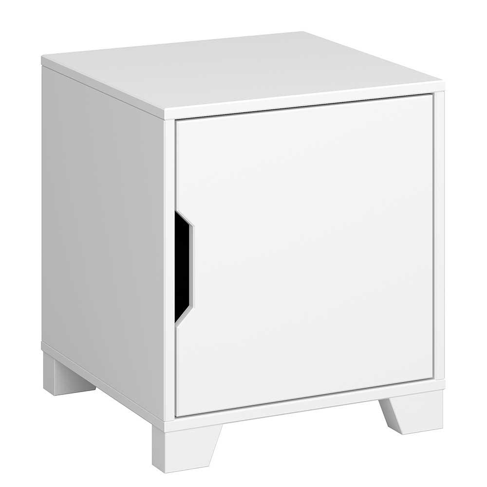 Nachttisch Kommode in Weiß lackiert Skandi Design