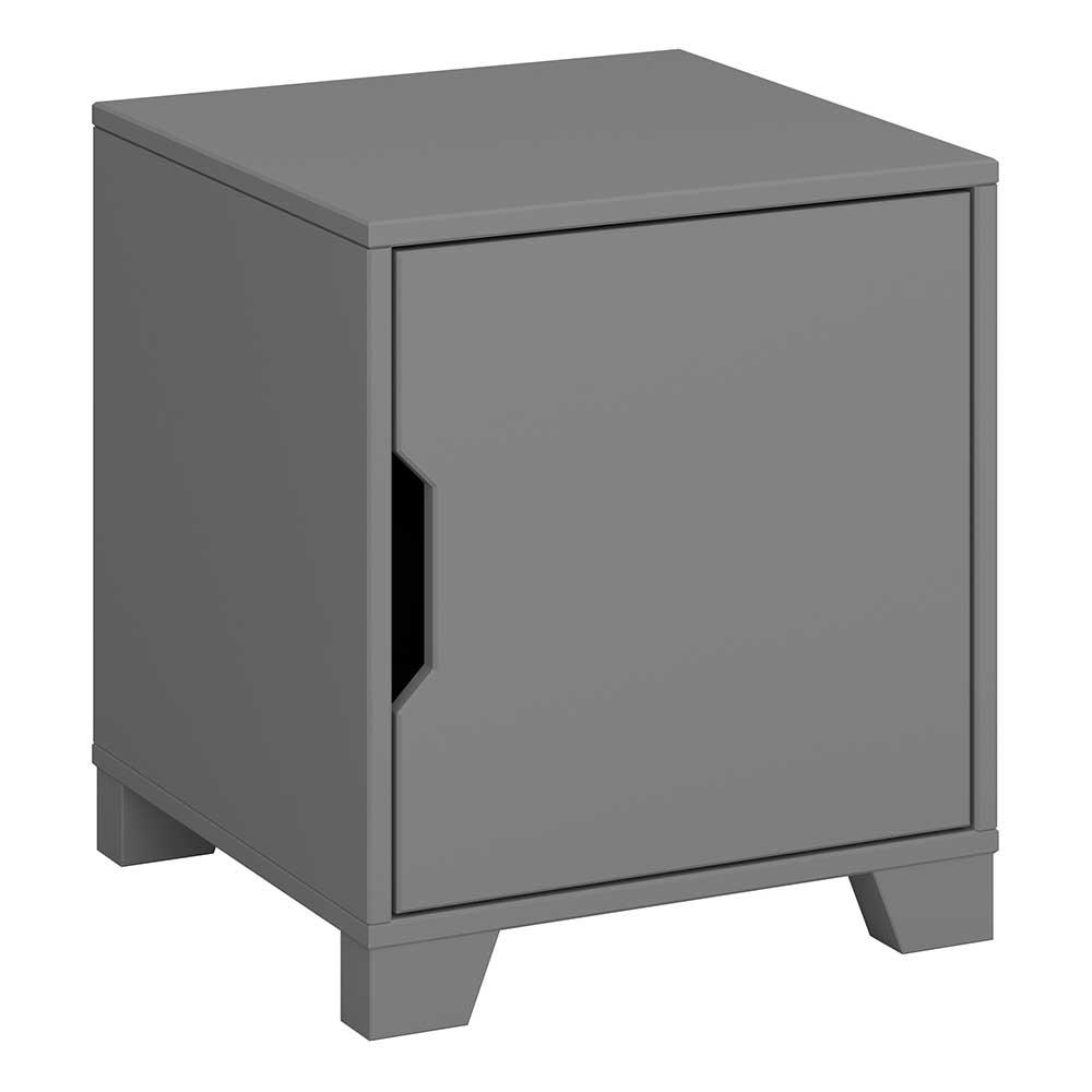Kleine Nachtkommode in Grau lackiert 1 Tür